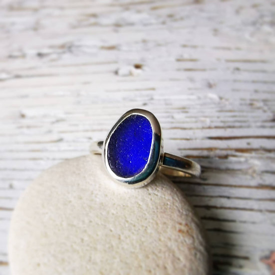 Sterling silver blue sea glass runs size M