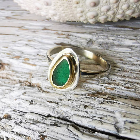 Sterling silver green sea glass ring with 9ct gold detail. Uk size l