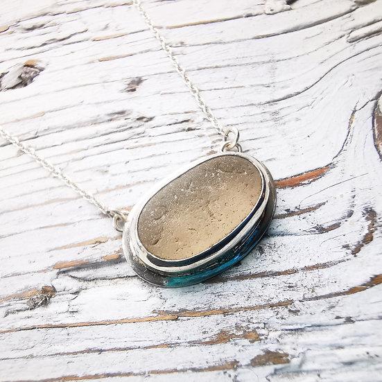 White sea glass necklace pendant