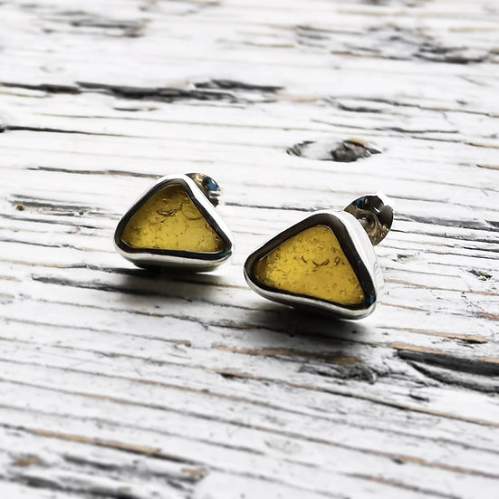 Sterling silver yellow sea glass studs earrings