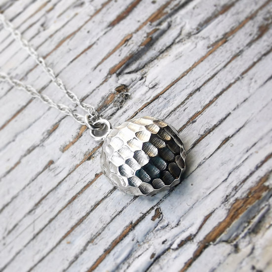 Little textured sterling silver pebble pendant necklace