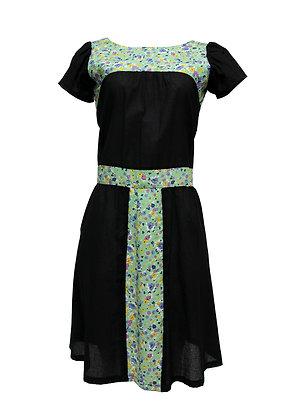 """Vestido """"Balzac - Verde e Preto"""" Botões"""