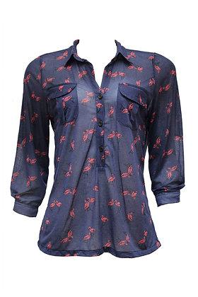 """Blusa """"Flamingos"""" Botões"""