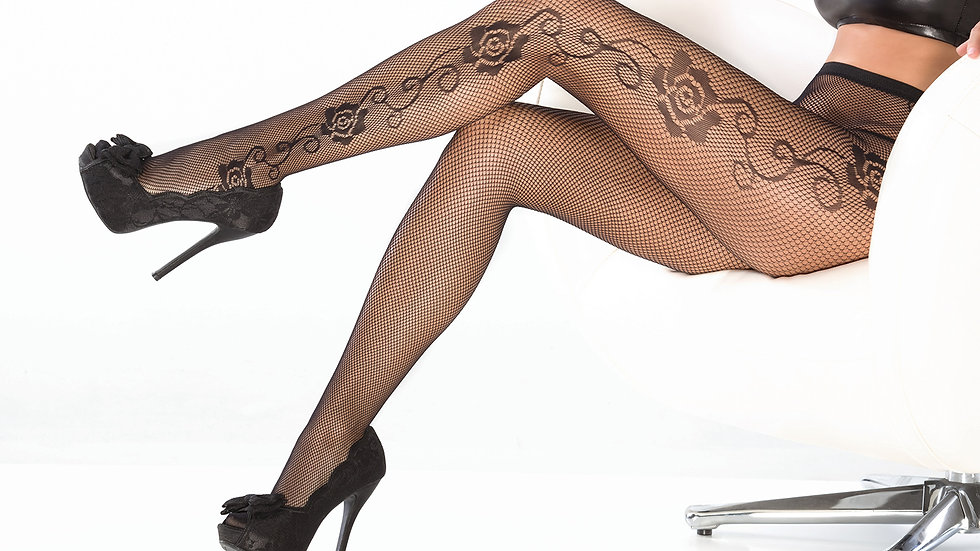 Fishnet Tights W/Rose