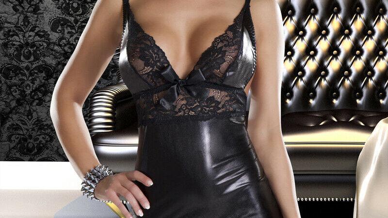 Avanua Lace & Wetlook Dress Chemise
