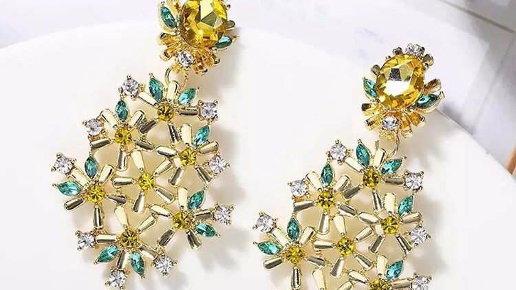 Yellow with green earrings