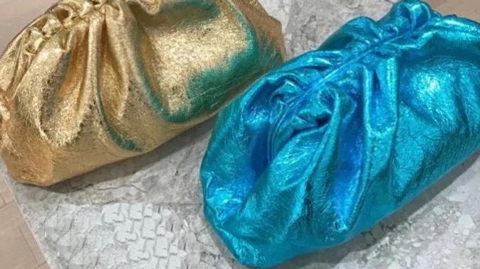 gold / blue clutch bag