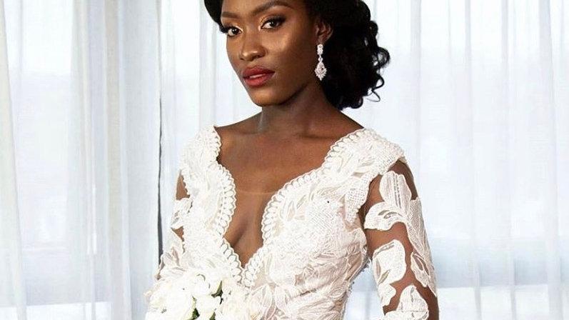 Silver bridal earring