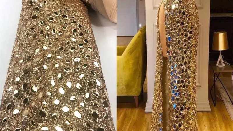 Gold sequin block material final payment  3 weeks delivery