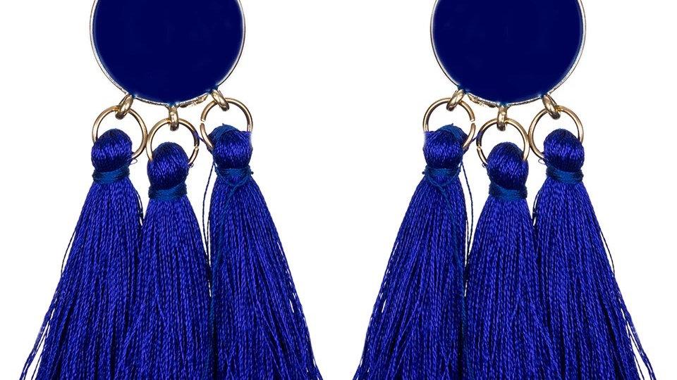 Blue fringe earring