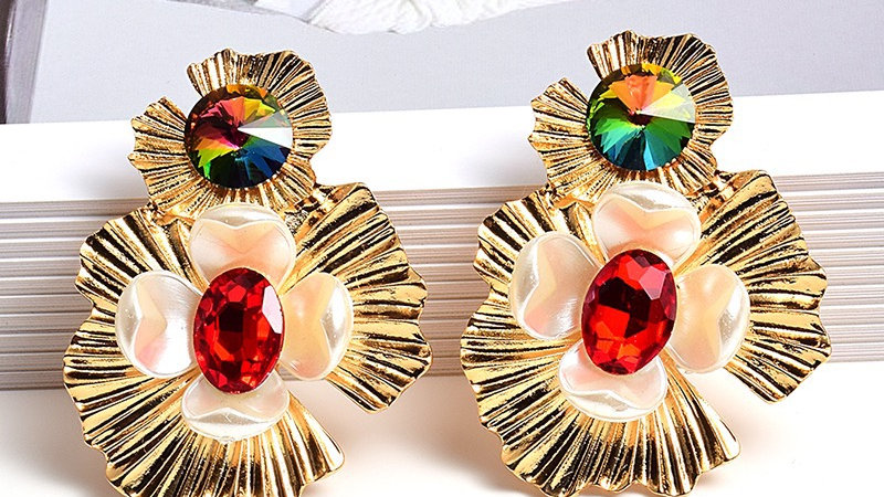 Gold with multicoloured earrings