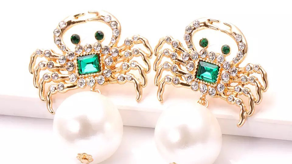 Pearl with gold and green earrings