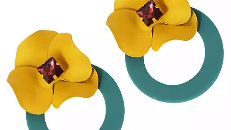 Yellow with teal hoop earrings