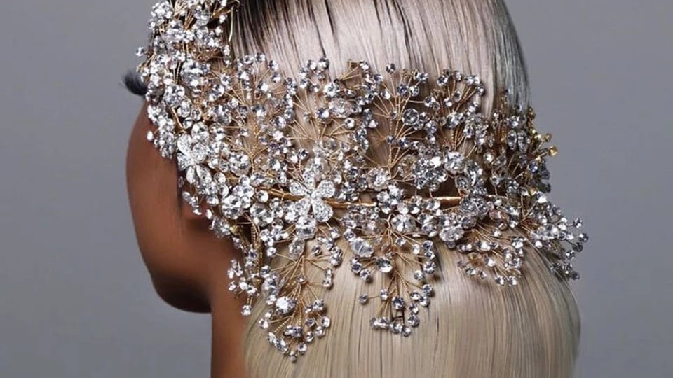 Gold bridal hair piece preorder only 3weeks delivery