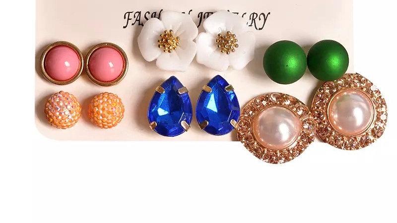 Multicoloured earring studs