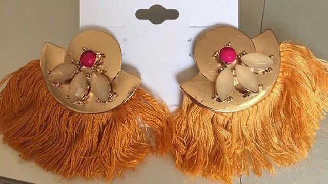 orange and gold fringe earrings