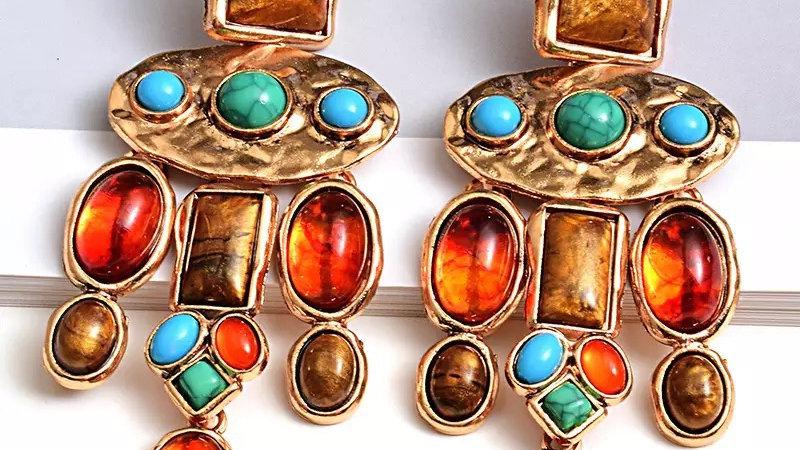 Multicoloured coloured earring