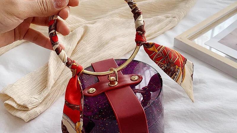 Purple clutch bag