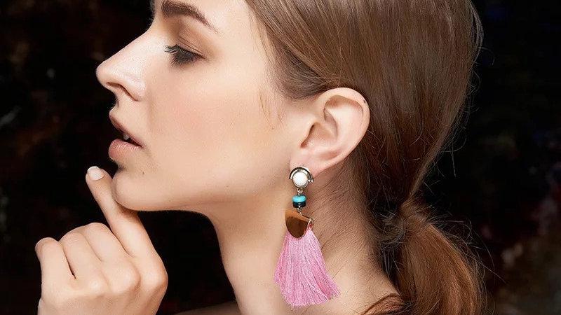 Pink fringe earring