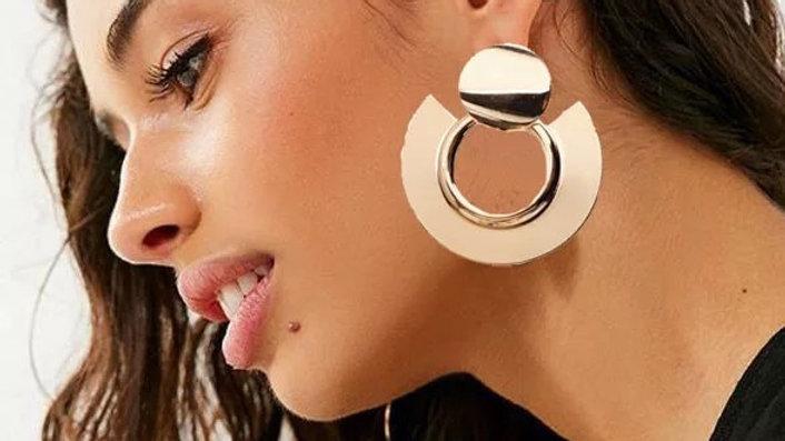 Silver big earrings
