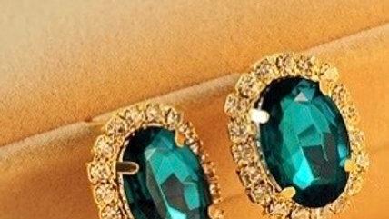 Green earrings studs