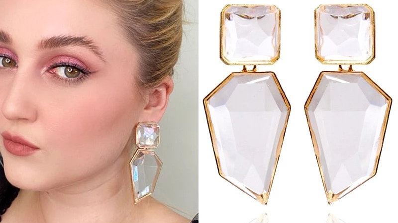 Clear with gold earrings