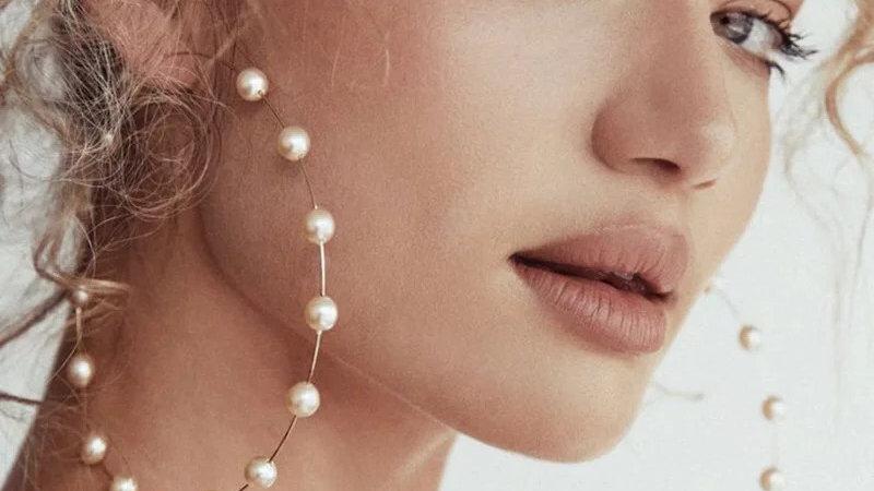 Very big pearl hoop earrings