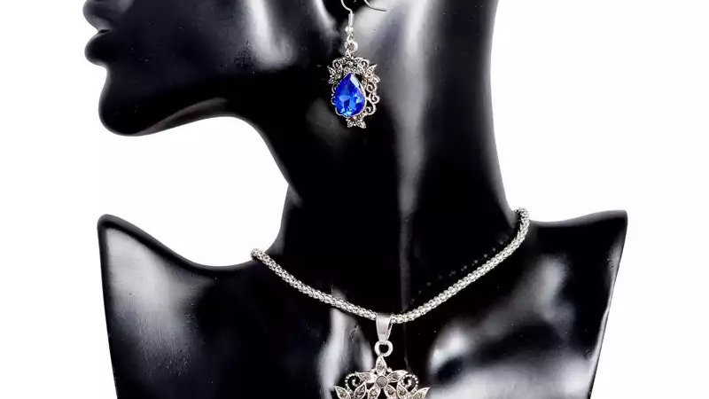 Silver and blue earring set