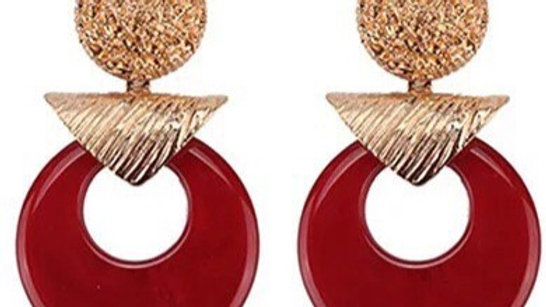 red with gold earring