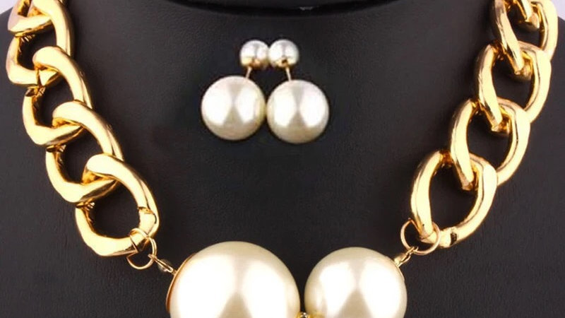 Gold with pearl chain