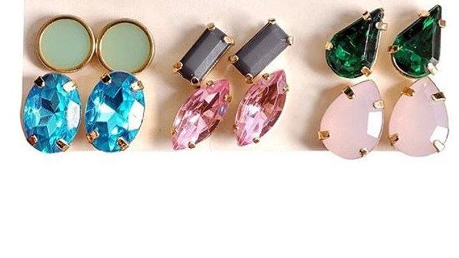 Multi coloured stud earrings