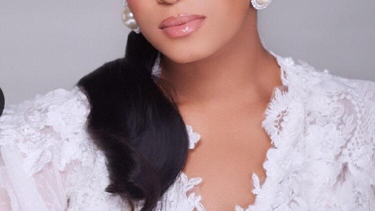 Pearl bridal headband and earrings
