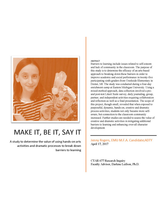 Make it, Be it, Say it Research J Rogers