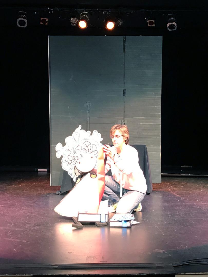 Sophie & I on stage, Mermaid Theatre