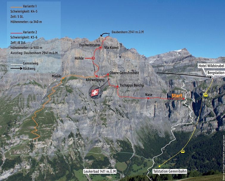 Route Klettersteig Leukerbad