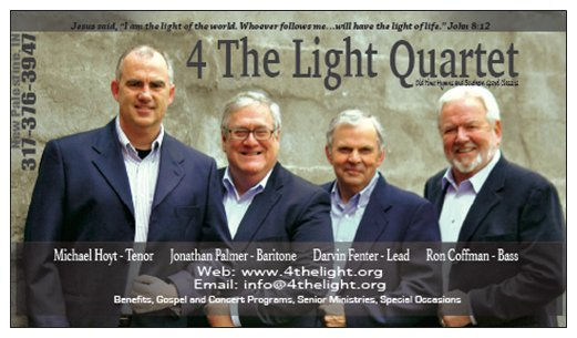 4 The Light Quartet Central Indiana Southern Gospel Group Business Card with Contact website email phone number and booking information