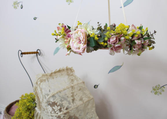 Nusery decor - floral mobiles