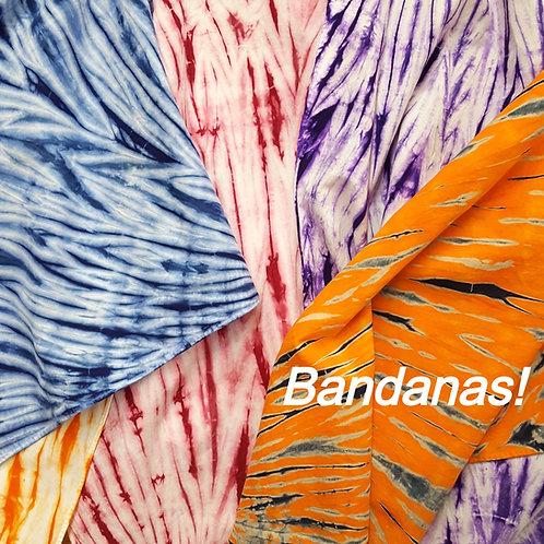 Tie dye cotton bandana face coverings @StarhawkDesignStudio