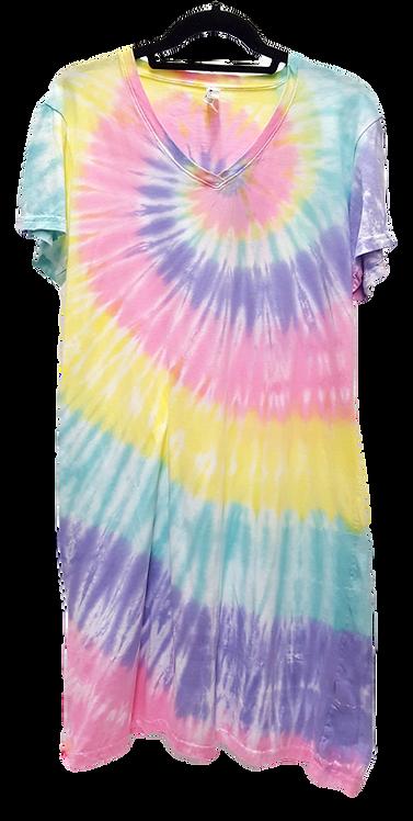 Pastel tie dye women's tee dress by @StarhawkDesignStudio