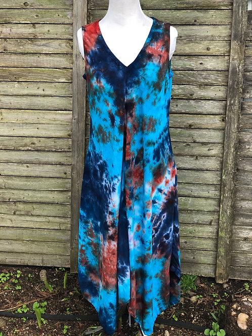 Tie dye women's rayon dress by @StarhawkDesignStudio
