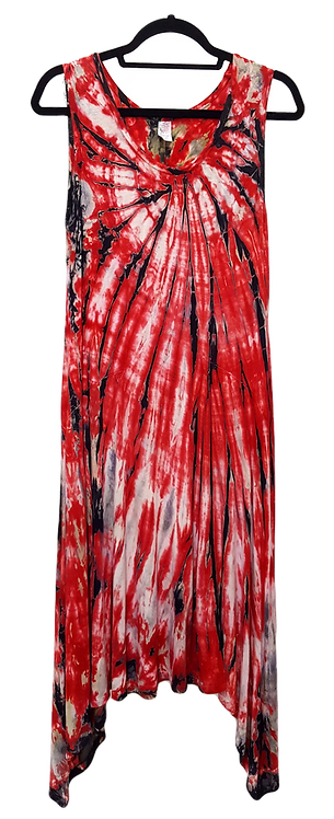 Red black tie dye women's rayon dress by @StarhawkDesignStudio FRONT VIEW