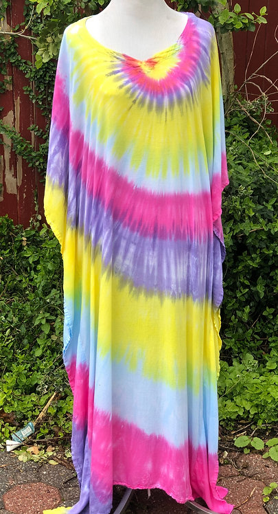 Spring Rainbow Neck Spin Rayon Caftan ($70)
