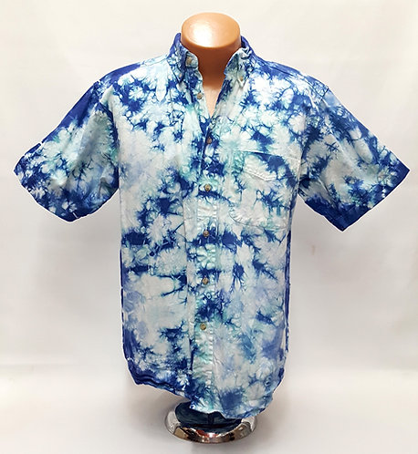 Men's Tie Dye Button Down short sleeve shirt by @StarhawkDesignStudio