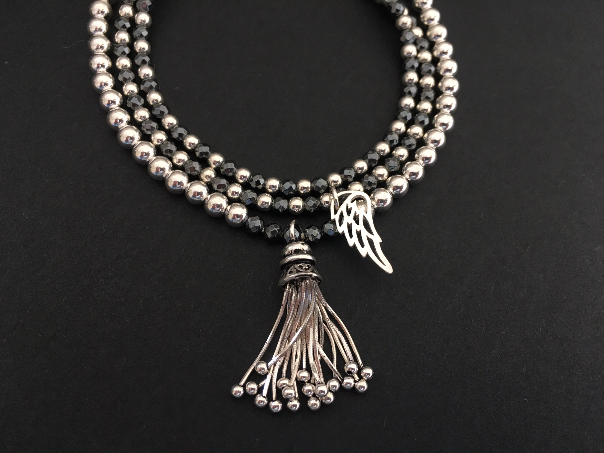 Hematite with tassel & Angel Wing