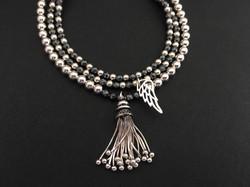 Hematite with tassel & Angel Wing