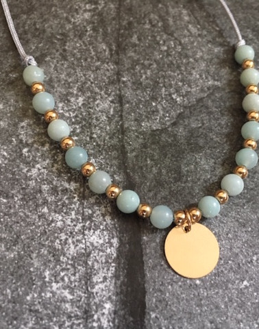 The lovely 14k gold filled bracelet with the Amazonite stones