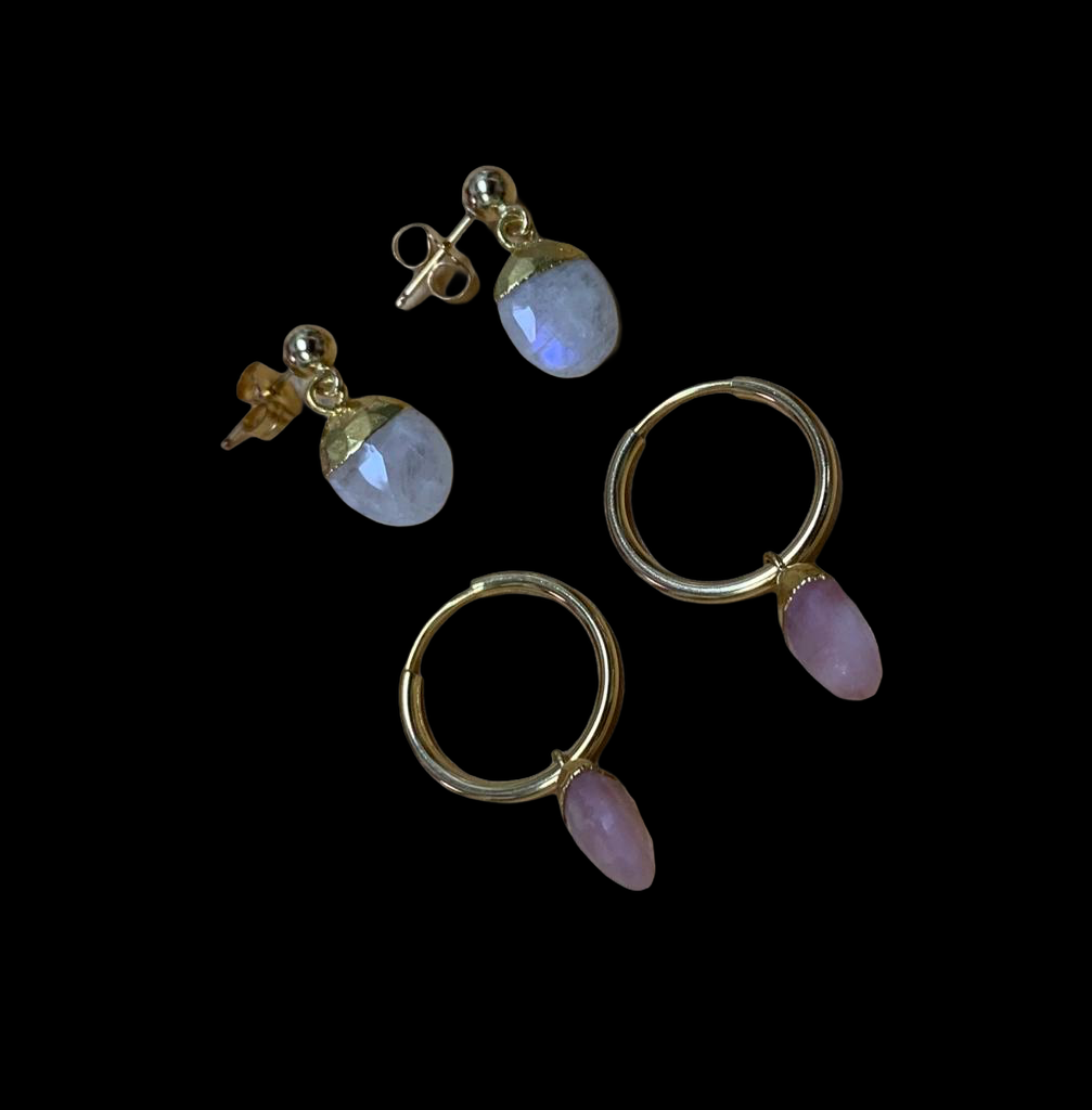 Pretty moonstone and Pink Opal earrings