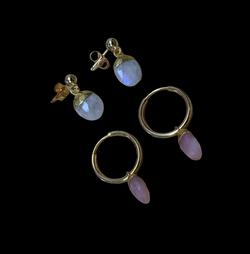 Pretty moonstone and Pink Opal earrings