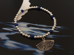 The 4mm silver and blue Agate stones