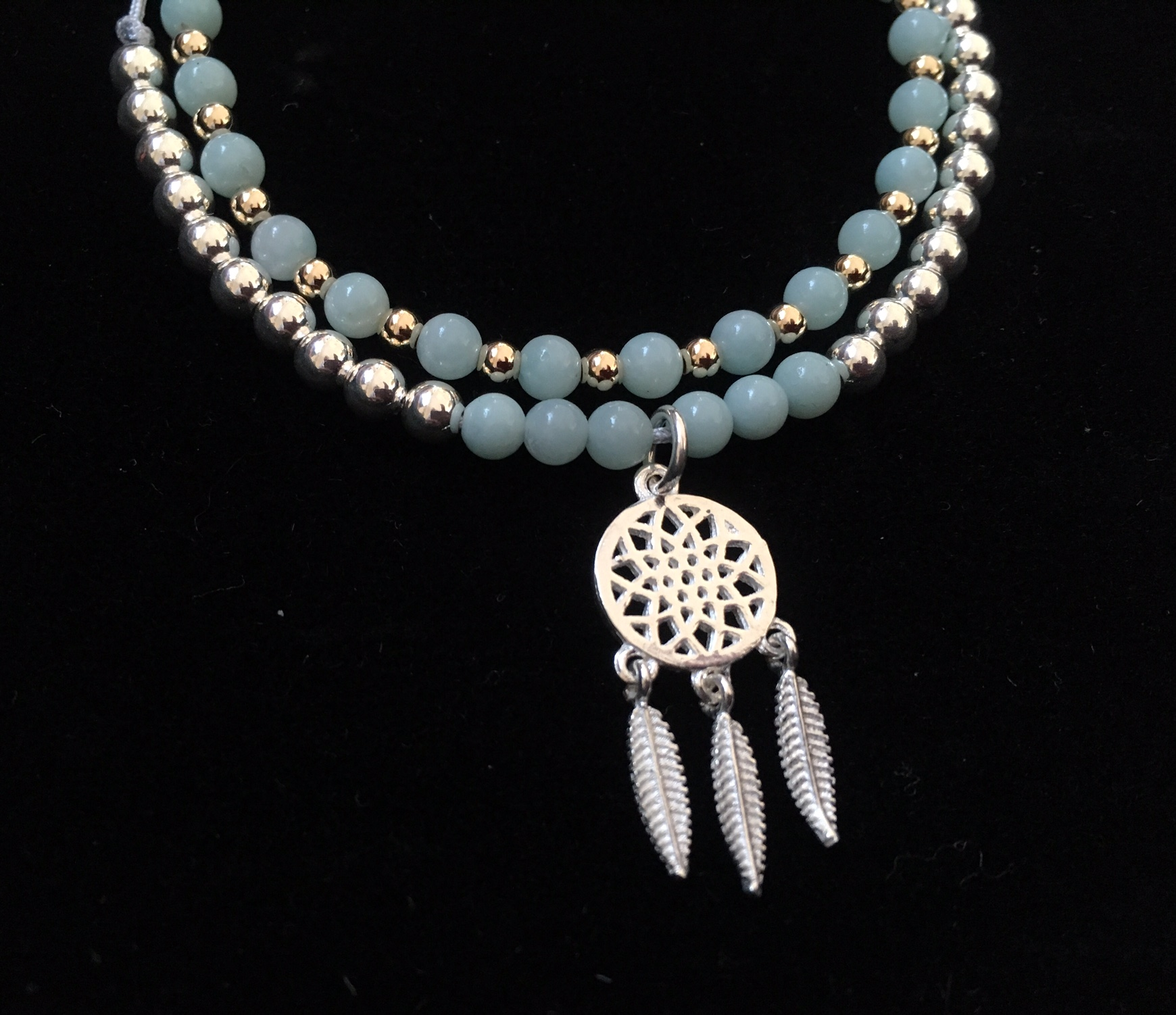 Dreamcatcher charm with Amazonite